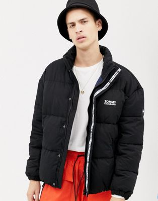 Image 1 of Tommy Jeans essential puffer jacket with logo in black