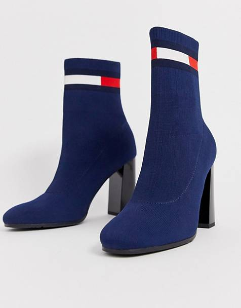 Tommy Jeans flag logo sock boot heels