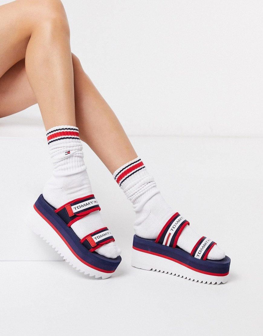 tommy jeans -  – Flatform-Sandalen mit Logoband-Navy
