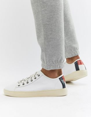 Tommy Jeans Icon Flag Back Lightweight Leather Trainers in White