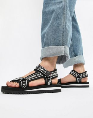 Tommy Jeans logo straps technical sandals in black