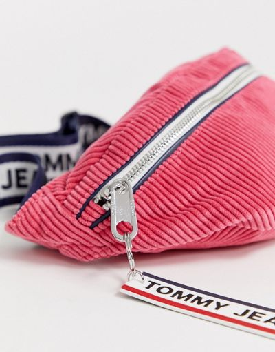 Tommy Jeans logo tape courduroy cross body bumbag