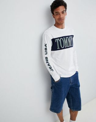 Tommy Jeans retro chest & sleeve logo long sleeve top in white