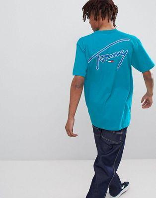 Tommy Jeans Signature Capsule - T-shirt comoda turchese con logo sul davanti e sul retro