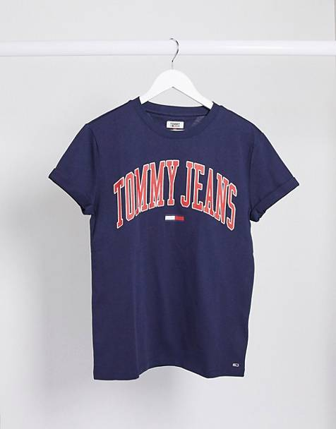 Tommy Jeans - T-shirt met logo in collegelook in marineblauw