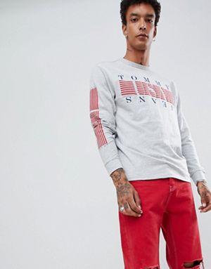 La Rayures Logo Usa Avec À Et Manches Jeans Tommy Sur Poitrine Les Top wTOHqp8Y
