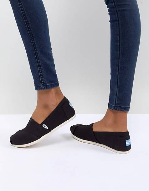 TOMS Classic Black Canvas Shoes
