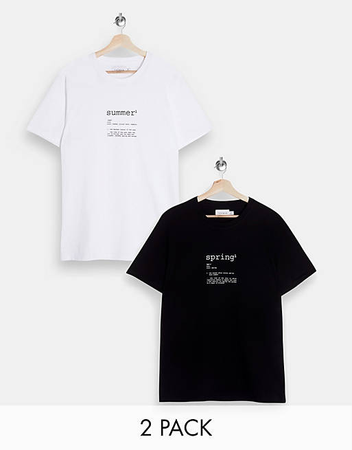 Topman 2-pack 'seasons' print T-shirts in multi
