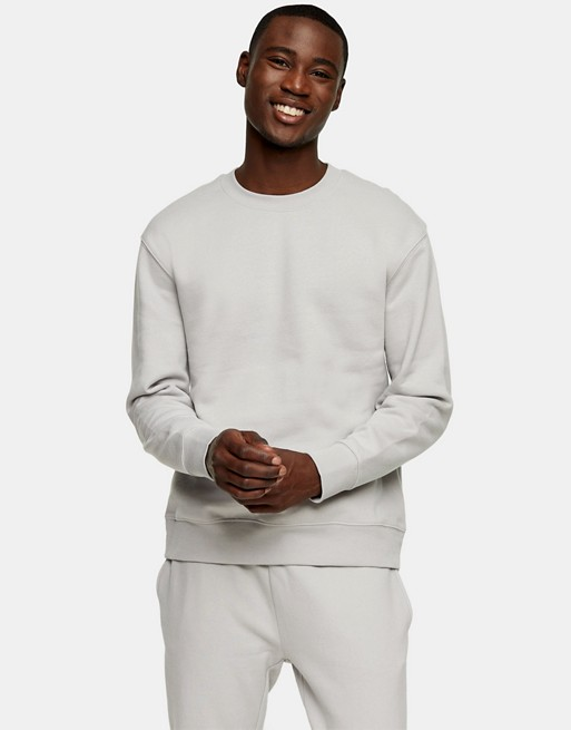 Topman co-ord sweatshirt in light grey