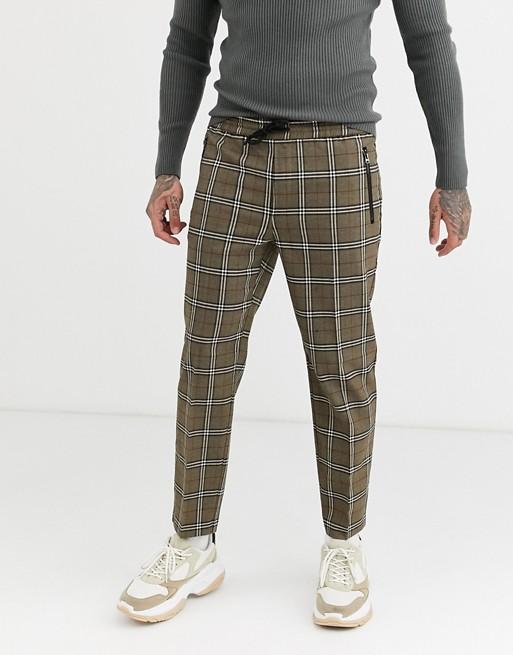 Topman - Geruite broek in bruin