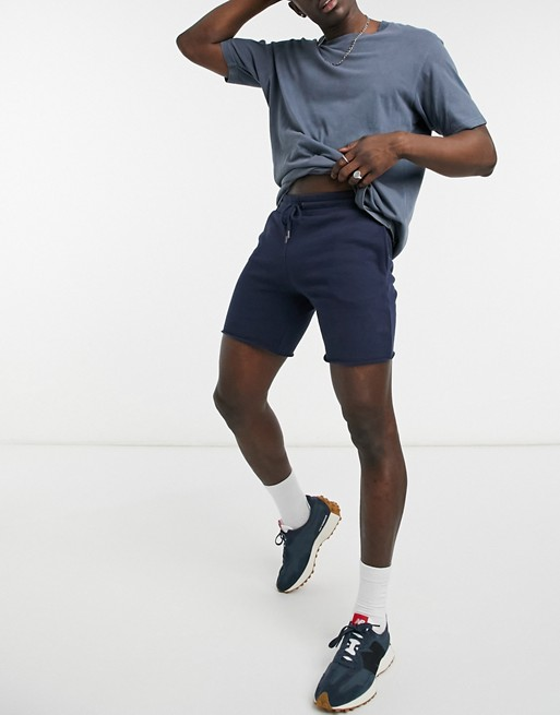 Topman jersey shorts in navy