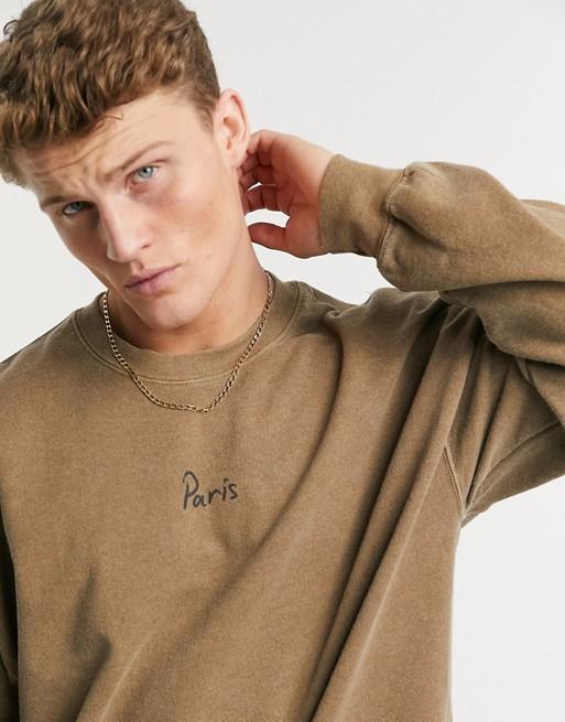 Topman 'Paris' print sweatshirt in camel