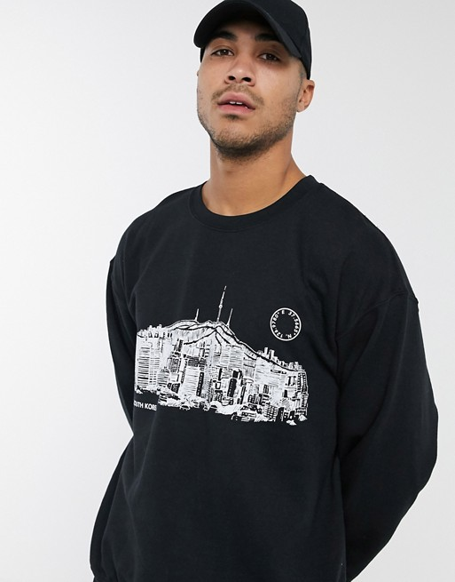 Topman Seoul print sweatshirt in black