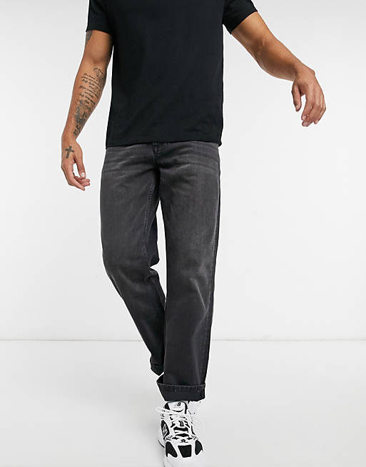 Topman skater jeans in washed black
