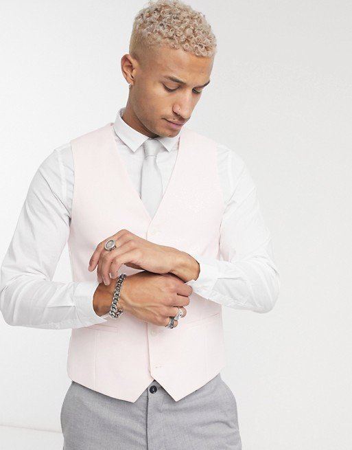 Topman skinny double breasted suit vest in pink