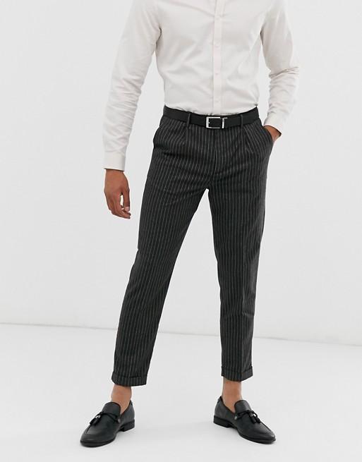 Topman - Skinny nette broek met krijtstreep in grijs