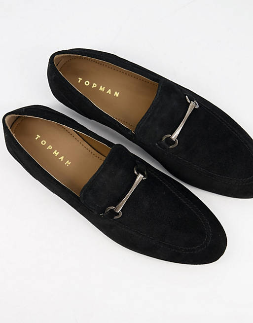 Topman snaffle loafers in black