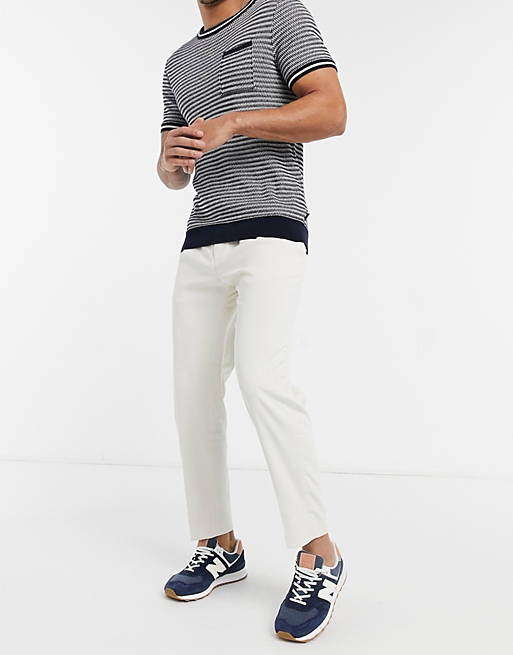 Topman tapered trousers in stone cord