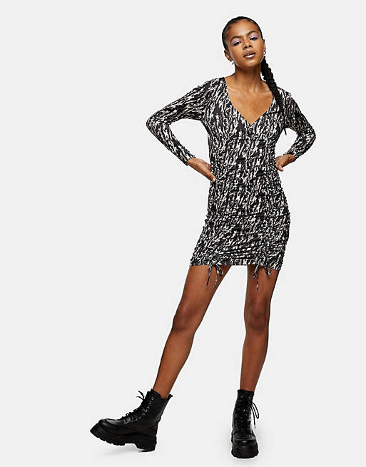 Topshop animal print ruched mini dress in multi