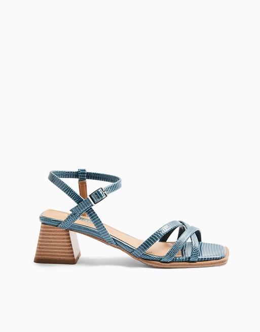 Topshop block heeled sandals in blue croc