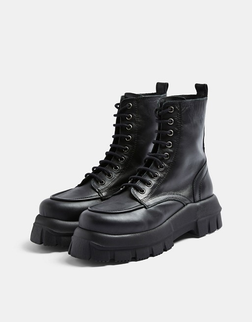 Topshop chunky leather lace up boots in black