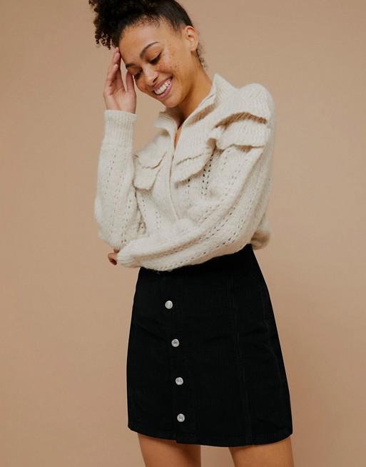Topshop corduroy button front mini skirt in black