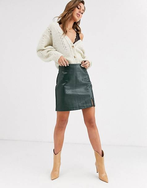 Topshop croc pu mini skirt with side split in green