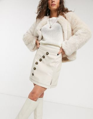 Topshop faux leather mini skirt with button front in cream