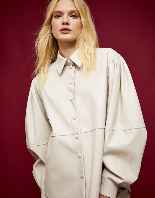 Topshop IDOL seamed shirt in cream