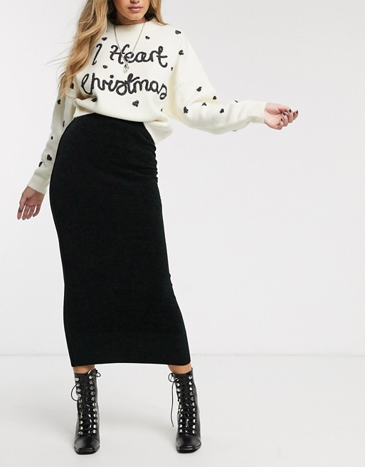 Topshop Knitted Midi Skirt In Black by Topshop