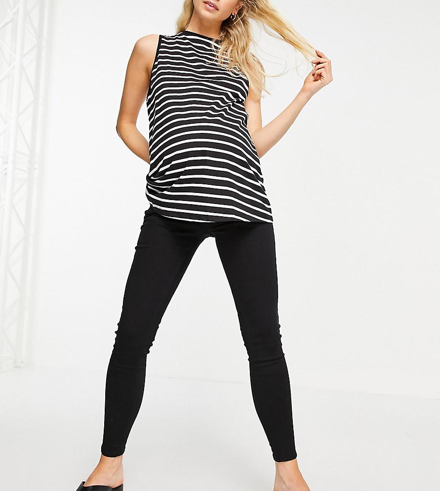 Topshop Maternity - Jamie - Sorte jeans med linning under maven