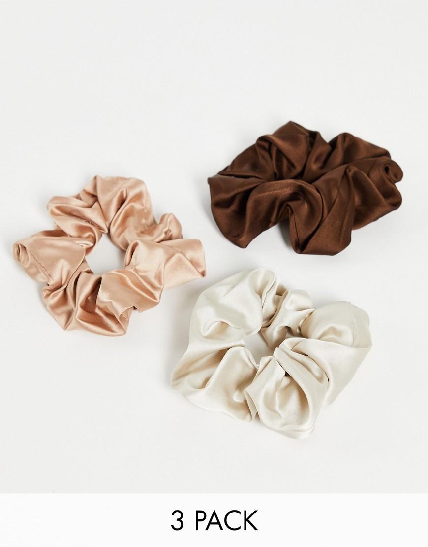 Topshop - Multipakke med 3 hårelastikker i brun