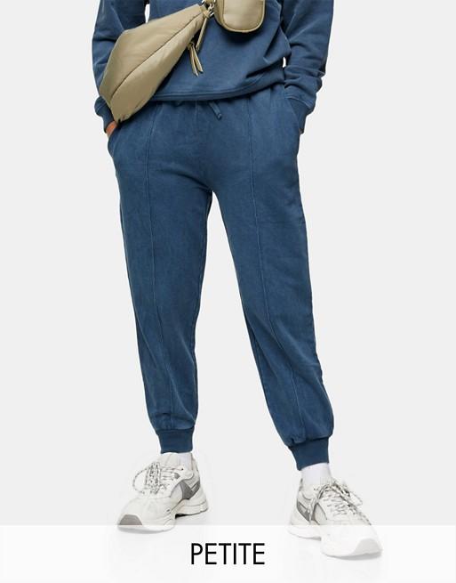 Topshop Petite acid wash sweatpants in blue