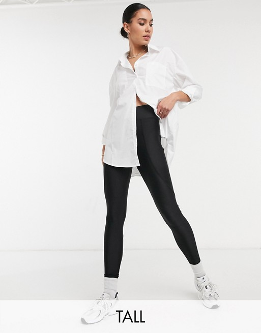 Topshop Tall high shine leggings in black