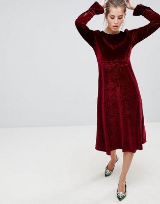 Image 1 of Traffic People Flute Sleeve Velvet Midi Dress