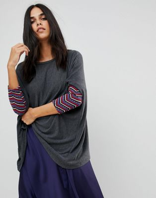 Traffic People Slouchy Jumper With Embroidered Detail