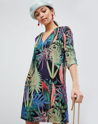 Traffic People Tropical V Neck Shift Dress