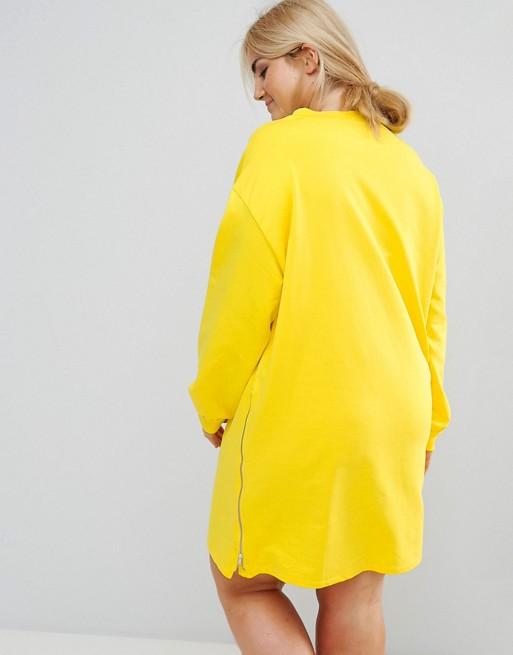 3689e3e2087 Трикотажное платье оверсайз с молниями ASOS CURVE