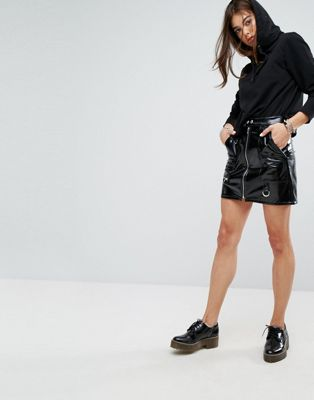 Tripp NYC High Shine PU Mini Skirt