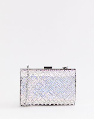 Image 1 of True Decadence iridescent geometric box clutch bag