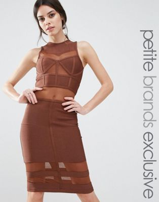 True Decadence Petite Bandage Midi Dress With Mesh Inserts