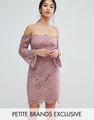 True Decadence Petite Bardot Cutwork Lace Mini Dress