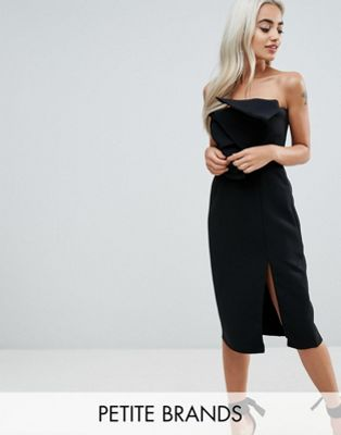 True Decadence Petite Bow Front Bandeau Pencil Dress With Split Detail