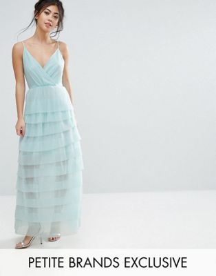 True Decadence Petite Cami Maxi Dress With Ruffle Pleated Skirt