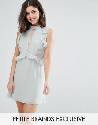 True Decadence Petite Ruffle Shoulder Mini Skater Dress
