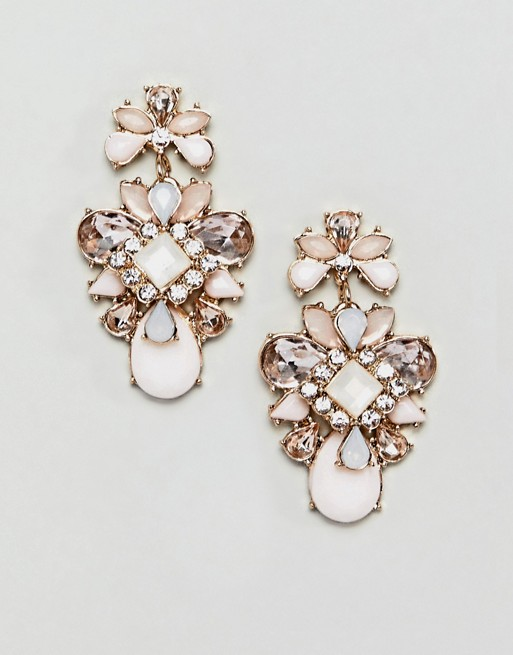 Image 1 of True Decadence pink cluster jewelled earrings