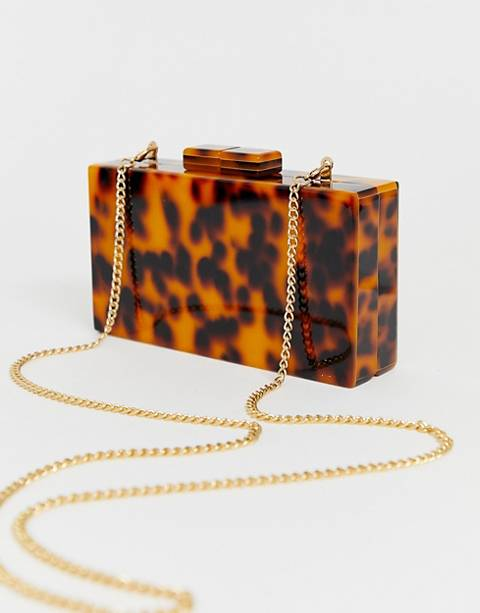 True Decadence tortoiseshell structured box clutch bag