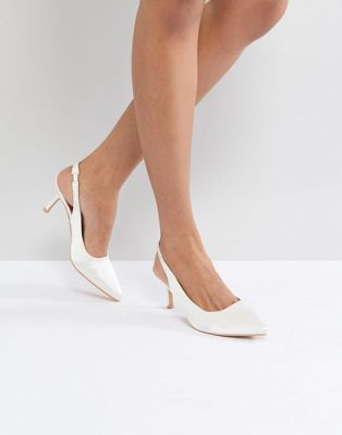 Image 1 of True Decadence White Satin Kitten Heeled Sling Back Shoes