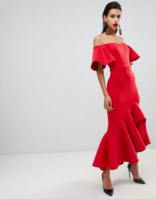 True Violet bardot midi dress with dramatic frill detail in red