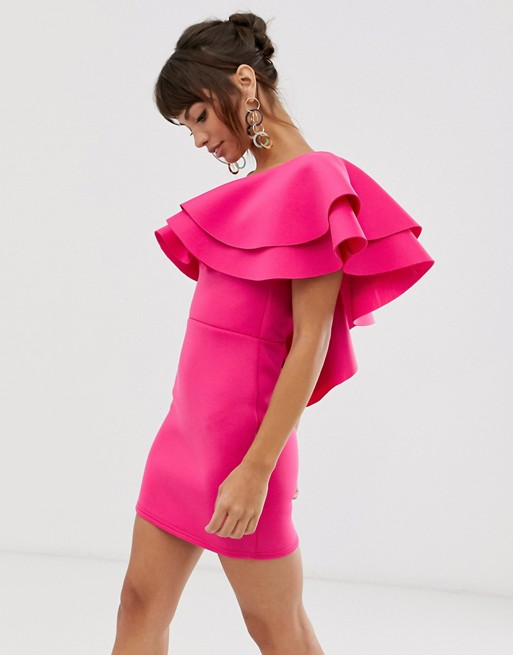 True Violet Exclusive Mini Dress With Frill In Fuchsia by True Violet